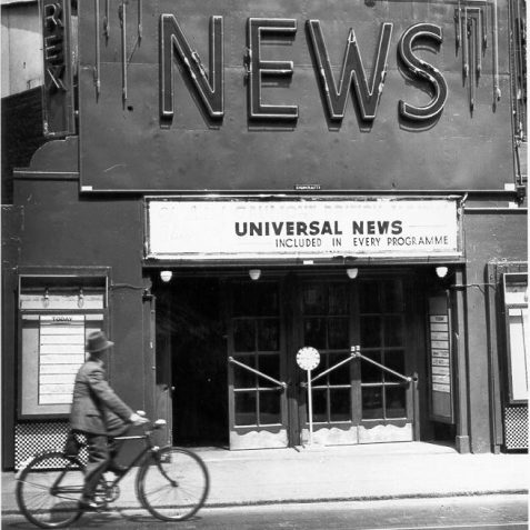 Rex News Theatre, c. 1938: Opened in 1911 as the Coronation Cinema and seated 350 people. After changing names to the New Coronation in 1928 and to the Troxy in 1934, it became the Rex News Theatre in 1938 but closed in June 1939. It was subsequently a motorcycle shop until 1999. A man on a bicycle seems to be reading the schedule of today's films. | Image reproduced with kind permission from Brighton and Hove in Pictures by Brighton and Hove City Council