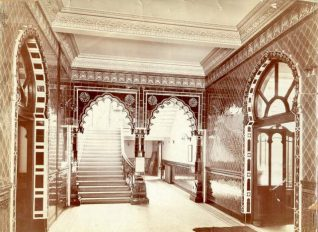 Entrance to Brighton Lending Library, c. 1901. The Vestibule of the West Entrance to Brighton Library, Museum and Art Gallery, which was added in 1902 when the Victoria Lending Library opened within the building. Since 1910 this has been the only entrance to the library and museum. On the right a doorway leads to the lending library, which remained in the same rooms until 1999. | Image reproduced with kind permission from Brighton and Hove in Pictures by Brighton and Hove City Council