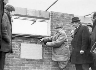 Laying Foundation Stone at Brighton Football Club , 1970: The Mayor of Brighton, Frank Masefield-Baker, laying the foundation stone of a new building for Brighton Football Club on 4 March 1970. Brighton Football Club are a rugby team, now based at Waterhall. | Image reproduced with kind permission from Brighton and Hove in Pictures by Brighton and Hove City Council