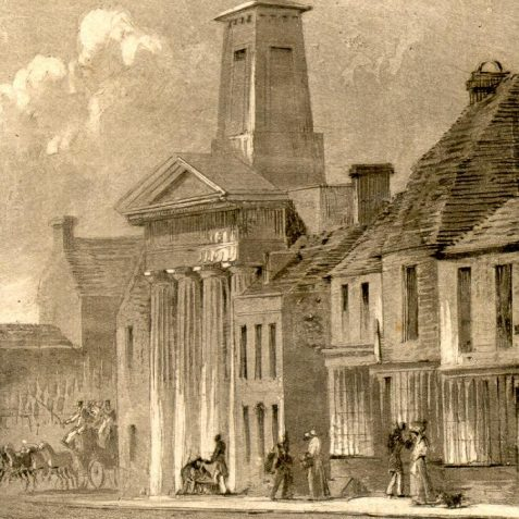Trinity Chapel, c. 1820: Built in 1817 by Amon and Amon Henry Wilds for Thomas Read Kemp and his dissenting sect. It was built in Greek Doric style with a four column portico and square tower. In 1825 it was sold to Reverend Robert Anderson, who enlarged and redesigned the chapel, and consecrated it in 1826 as the Holy Trinity Church.. In 1885-7 the exterior was rebuilt in Perpendicular and Decorated styles by Somers and Micklethwaite using knapped flint as the facing material, but the interior is substantially unaltered from the original and has galleries above the north and south aisles. Holy Trinity Church closed in 1984 and is now the Fabrica art gallery. | Image reproduced with kind permission from Brighton and Hove in Pictures by Brighton and Hove City Council