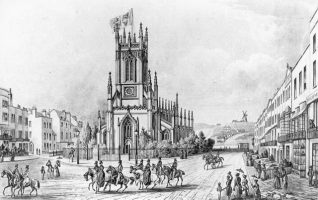 St. Peter's Church, 1839: Men and women riding horses in front of St Peter's Church, watched by men, women and children promenaders. On the right is a row of houses on Richmond Terrace, ending with the Richmond Hotel. In the distance is the Rose Hill Mill. | Image reproduced with kind permission from Brighton and Hove in Pictures by Brighton and Hove City Council
