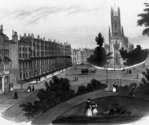 View of the New Church of St. Peter, c. 1829: Women and children can be seen in what is now the northern part of Victoria Gardens. On the left, on Gloucester Place, is the Gloucester Hotel, which opened in 1819 and is now a night-club. A sign points in the direction of the female orphan asylum which was at the top of Gloucester Street until 1853 when it moved to Eastern Road. | Image reproduced with kind permission from Brighton and Hove in Pictures by Brighton and Hove City Council