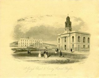 St. George's Chapel and County Hospital, 1841: Men, women and children walking in the grounds of St. George's Chapel. Behind them is the Sussex County Hospital and Sea-Bathing Infirmary, which opened on 11 June 1828 with four large and twenty-three small wards, catering for 80 patients. | Image reproduced with kind permission from Brighton and Hove in Pictures by Brighton and Hove City Council