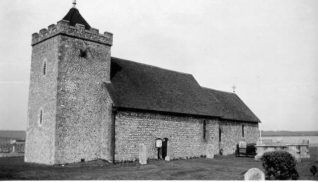 St. Helen's Church, Hangleton, c. 1920. St. Helen's Church is largely Norman, with the walls of the nave being up to four feet thick. At one time the walls were decorated with paintings, of which only traces remain. | Image reproduced with kind permission from Brighton and Hove in Pictures by Brighton and Hove City Council