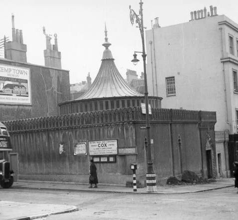 Sassoon Family Mausoleum, c. 1940: Built in 1892 as a mausoleum for Sir Albert Sassoon of 1 Eastern Terrace, Kemp Town, who was buried in 1896 followed by his son Sir Edward Sassoon in 1912. Their remains were removed in 1933 when the building was sold. During the Second World War it was used as an air raid shelter. In 1953 it became the Bombay Bar, part of the adjacent Hanbury Arms public house.   Image reproduced with kind permission from Brighton and Hove in Pictures by Brighton and Hove City Council