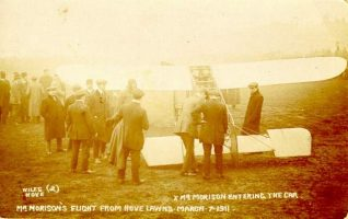 Mr Oscar Morison's Flight from Hove Lawns, March 7 1911: Earlier On 15 February he had flown a Bleriot monoplane from Brooklands Aerodrome near Weybridge to Brighton in one hour, landing by mistake near the Banjo Groyne. | Image reproduced with kind permission from Brighton and Hove in Pictures by Brighton and Hove City Council