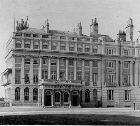 Royal Albion Hotel, Old Steine, c. 1900: The Albion Hotel opened on 5 August 1823 on the sight of Russell House. It was designed by Amon Henry Wilds and is an exceptionally elegant four-storey building with giant Corinthian pilasters and columns, shell decorations and a large Doric porch. In 1847 it became the Royal Albion and bears a royal coat of arms over the entrance. The hotel was severely damaged by fire in 1999. | Image reproduced with kind permission from Brighton and Hove in Pictures by Brighton and Hove City Council