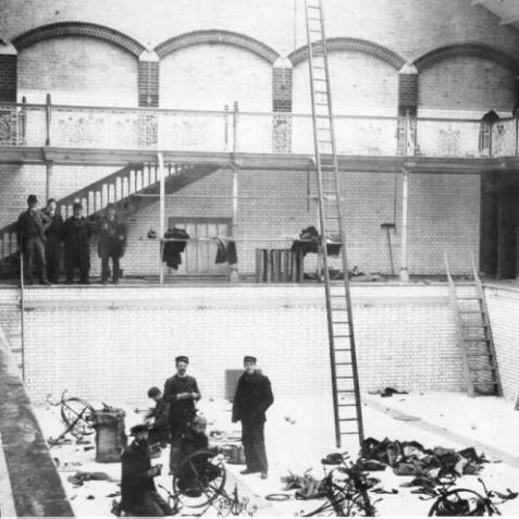 North Road Swimming Baths, 1895: The North Road Swimming Baths under construction in 1895. Initially they were open to men and women on separate days. It closed in November 1979 and the Prince Regent Swimming Pool was built on the site. | Image reproduced with kind permission from Brighton and Hove in Pictures by Brighton and Hove City Council