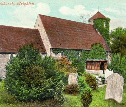 St. Peter's Church, Preston, c. 1910: Situated at the northern end of Preston Park, adjacent to Preston Manor, St Peter's dates from about 1250 and was built in Early English style and faced in knapped flint with stone dressings. In the 19th century a porch and vestry were added. | Image reproduced with kind permission from Brighton and Hove in Pictures by Brighton and Hove City Council
