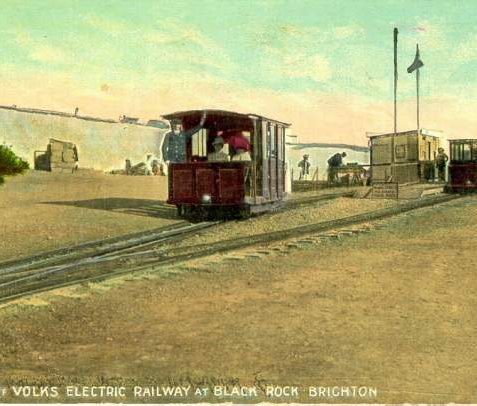 In 1901 Magnus Volk was permitted to extend his 1883 electric railway eastwards from Paston Place to Black Rock, where the small station shown here was built. New stations were built at Black Rock in 1911 and 1937 when the Swimming Pool opened. | Image reproduced with kind permission from Brighton and Hove in Pictures by Brighton and Hove City Council