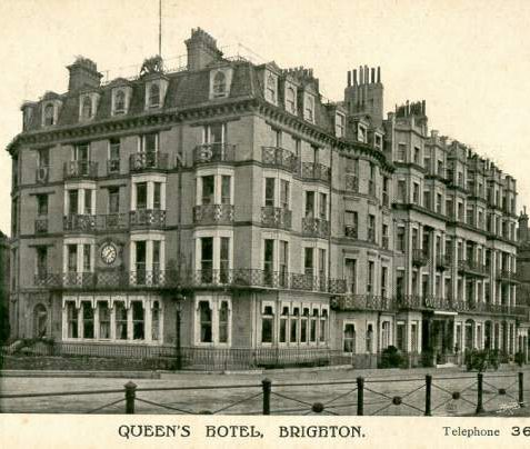 The Queen's Hotel was built in 1846 on the site of the Dolphin Inn; this original section still has an Ionic doorway facing the sea. In 1908 it absorbed the adjoining Markwell's Hotel, which had been built in 1870 on the site of Mahomed's Baths, which opened in 1786 as the first Turkish baths in the United Kingdom. A Royal coat of arms is visible on the roof between the two chimneys.   Image reproduced with kind permission from Brighton and Hove in Pictures by Brighton and Hove City Council