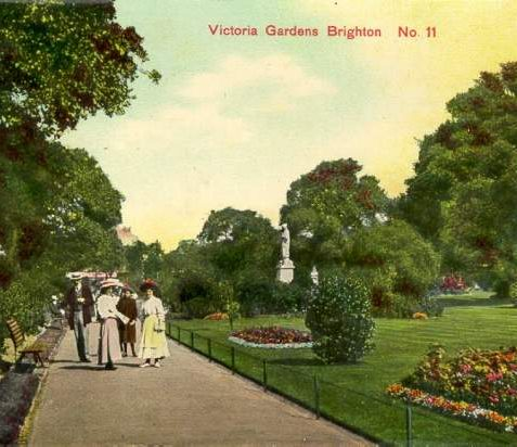 Victoria Gardens, c. 1908: One of the five allegorical figures can be seen in this picture. | Image reproduced with kind permission from Brighton and Hove in Pictures by Brighton and Hove City Council