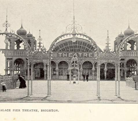 Palace Pier Theatre, c. 1910:. In 1901 the landing stage and pier-head pavilion were completed, the latter containing four large minaret towers, a concert hall and rooms for reading, smoking and dining. In 1910-11 the concert hall was remodeled as a theatre and cafe. The theatre was demolished in 1986 by its then owners, the Noble Organisation, who replaced it with an amusement dome. | Image reproduced with kind permission from Brighton and Hove in Pictures by Brighton and Hove City Council