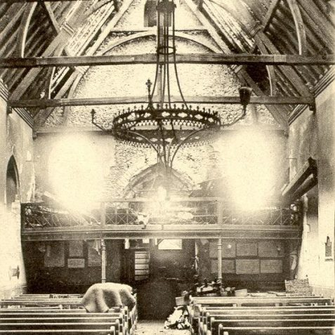 St. Peter's Church, Preston after a fire, 1906: St Peter's Church, Preston dates from around 1250 and stands next to Preston Manor. It was restored in 1870 and again in 1906-7 after this fire, which took place on June 23 1906. | Image reproduced with kind permission from Brighton and Hove in Pictures by Brighton and Hove City Council