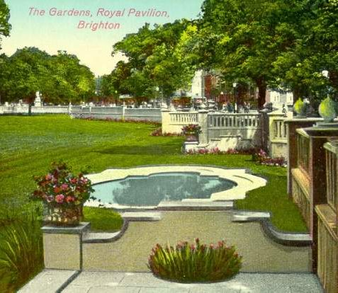 Royal Pavilion Gardens, c. 1925: The Royal Pavilion Gardens, showing ornamental ponds and miniature balustrades installed in 1921-23 | Image reproduced with kind permission from Brighton and Hove in Pictures by Brighton and Hove City Council