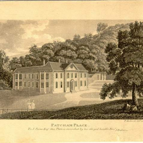 Patcham Place, pre 1850: Patcham Place was originally built in 1558 for Sir William West, Lord de la Warr, but was rebuilt with a facade of black mathematical tiles, pediment and a Tuscan doorway in 1767 for John Paine. In 1926 it was purchased with its grounds by Brighton Corporation for £6000. Since 1939 it has been a Youth Hostel. | Image reproduced with kind permission from Brighton and Hove in Pictures by Brighton and Hove City Council