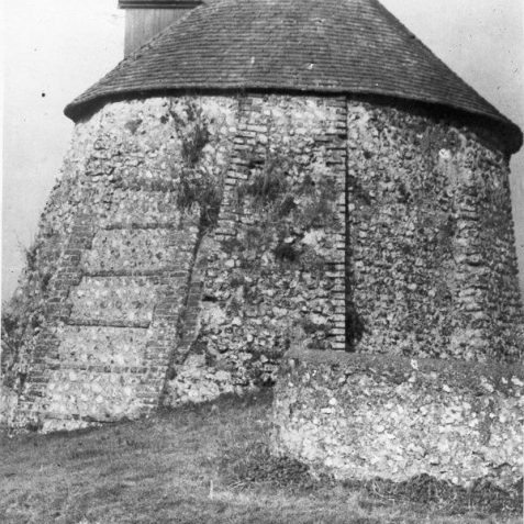 Patcham Dovecote, 1922: The Dovecote stands in the garden of Patcham Court Farmhouse. It is circular with walls three feet thick and a dormer window. There are three nesting boxes, reached by the original