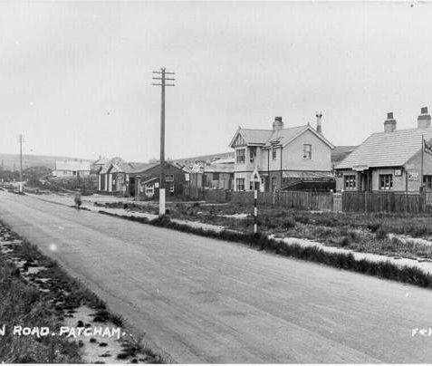 London Road, Patcham, c. 1930: The Patcham by-pass, which opened in 1926, diverted through traffic from Patcham Village. On the right is Patcham Tea Rooms, to the left of which is a garage selling BP petrol. | Image reproduced with kind permission from Brighton and Hove in Pictures by Brighton and Hove City Council