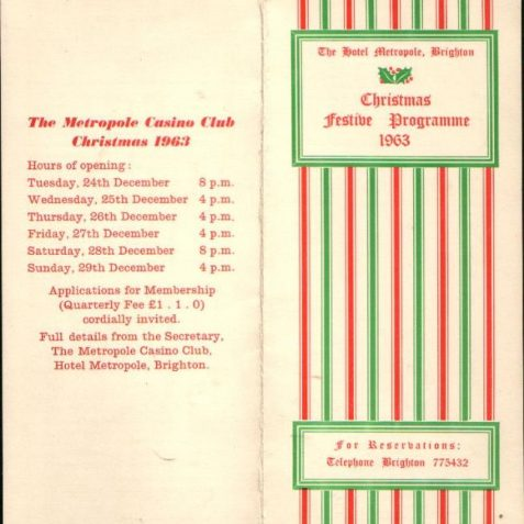 Xmas 1963, hotel menu   Photo submitted by Liam Mandville